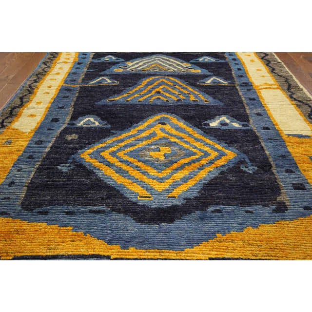 "Blue Wool Tullu Hand Knotted Rug - 7' 10"" X 10' 3"" - Image 3 of 10"