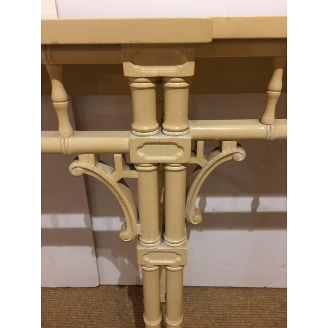 1950s Elegant Long and Narrow Painted Faux Bamboo and Wood Console Table For Sale - Image 5 of 10