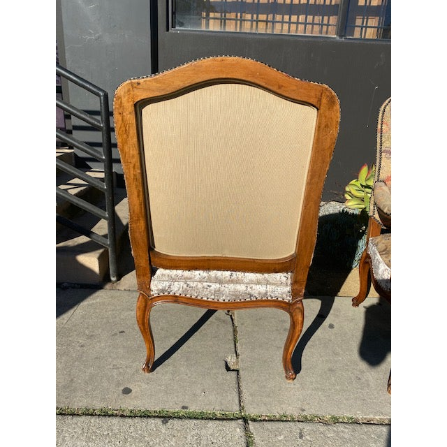 Wood 19th Century French Walnut Petite Point Neelde Point Arm Chairs- A Pair For Sale - Image 7 of 12