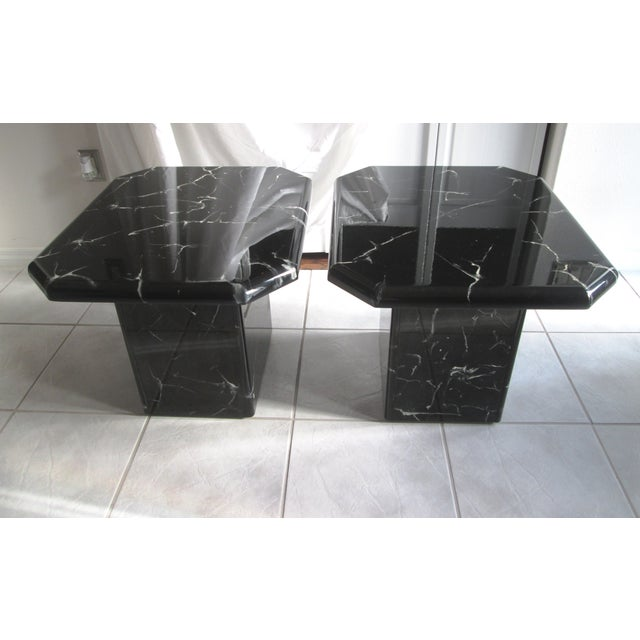Retro Lacquered Marble Design Side Tables - A Pair - Image 2 of 8