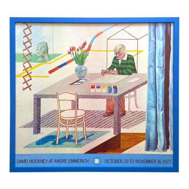 "David Hockney Vintage 1977 Lithograph Print Framed Pop Art Exhibition Poster "" Self Portrait With Blue Guitar "" For Sale"