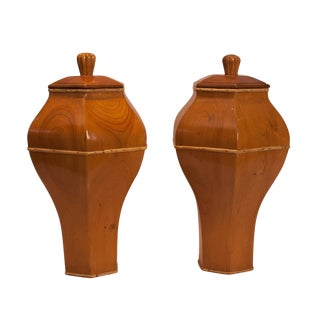 Vintage Wooden Covered Urns - A Pair