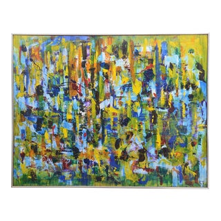 Gorgeous Brightly Colored MCM Abstract Painting by TC Harvey, 1969, USA