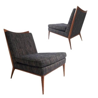 Stunning Pair of Paul McCobb Slipper Lounge Chairs With Walnut Trim For Sale