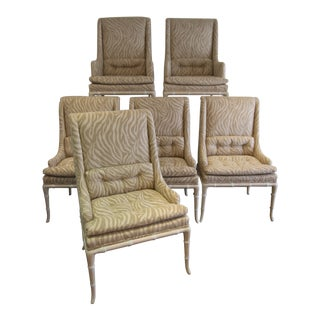 1950s Vintage Robsjohn Gibbings High Back Chairs- Set of 6 For Sale