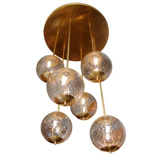 Mid-Century Modern 6-Clear Glass Globes Brass Flush Mount Light Attr. to Venini For Sale
