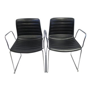 Arper Catifa 46 Sled Base Arm Chairs - a Pair