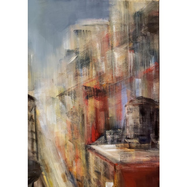 Painting of New York City Rooftops and Water Towers by M. C. Pajeile For Sale - Image 4 of 6