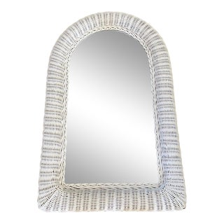 White Rattan Arch Wall Mirror For Sale