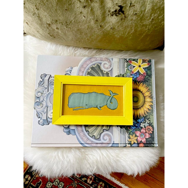 Bright but moody nautical whale painting in eccentric yellow vintage wood frame makes for the perfect twist on traditional...