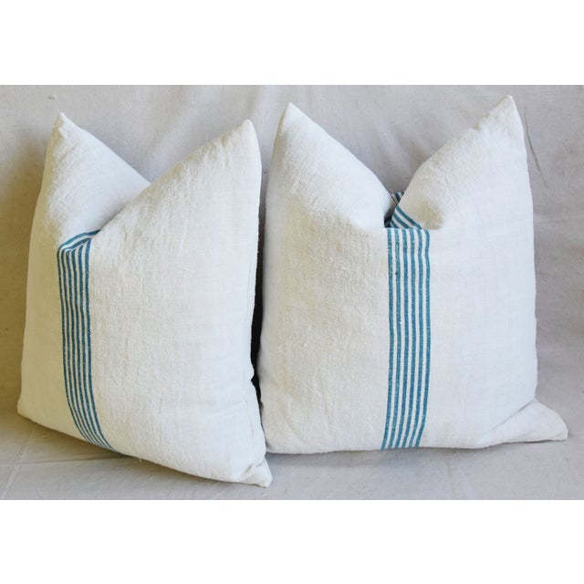 """Aqua Striped French Homespun Grain Sack Textile Feather/Down Pillows 21"""" Square - Pair For Sale - Image 10 of 13"""