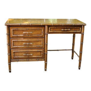 20th Century Boho Chic Dixie Aloha Faux Bamboo Desk For Sale