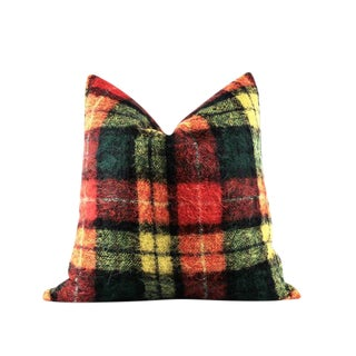 """Colorful Plaid Mohair Wool Accent Pillow 22"""" x 22"""" For Sale"""