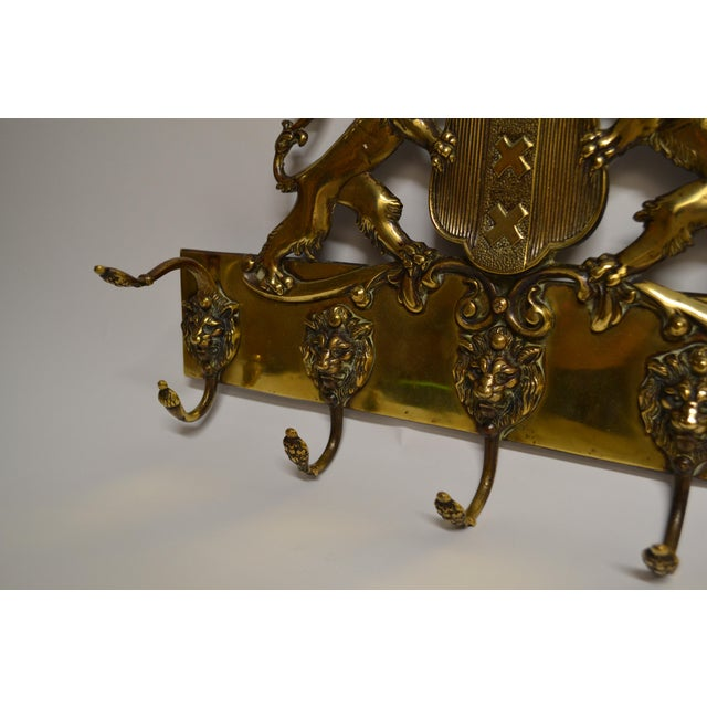 Antique English Brass Coat of Arms Hall Tree Circa 1860 For Sale - Image 4 of 5