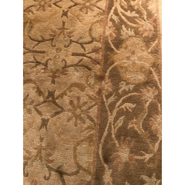 Neutral Luxurious Silk Tibetan Area Rug- 6′2″ × 8′11″ For Sale - Image 9 of 10