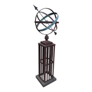 Antique Armillary Sundial Iron and Bronze Garden Sculpture For Sale
