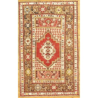 """Hand-Knotted Oushak Rug - 3'6"""" x 5'7"""" For Sale"""
