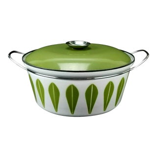 Cathrineholm Green Lotus 4qt Enamel Covered Dutch Oven Casserole For Sale
