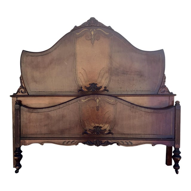 1930s Traditional Full Size Inlay Bedframe With Rails For Sale