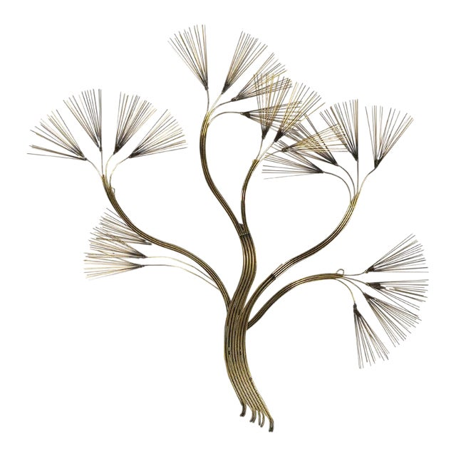 Abstract Floral Wall Sculpture in Brass by Jere For Sale