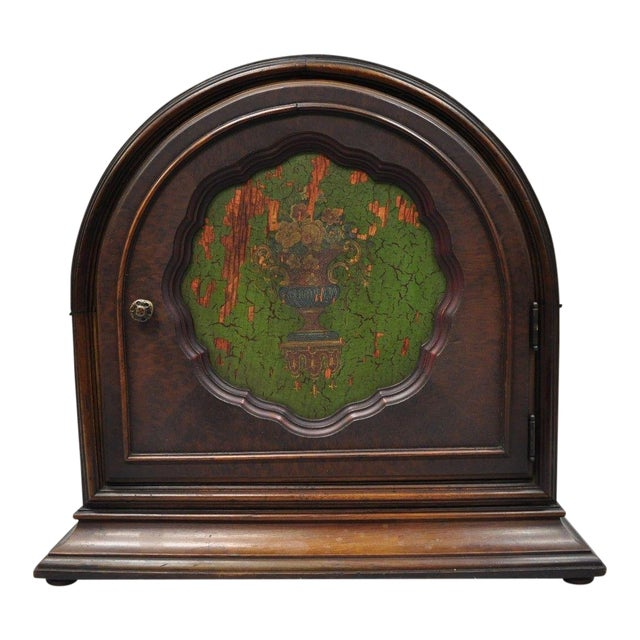 Antique Depression Walnut & Green Floral Paint Decorated Cabinet Jewelry Chest For Sale