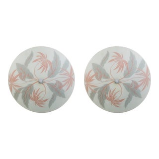 Mid 20th Century Frosted Glass Flush Mount With Printed Gray & Coral Flora For Sale
