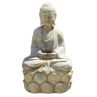 Chinese Distressed Brown White Stone Sitting Meditation Buddha Statue For Sale