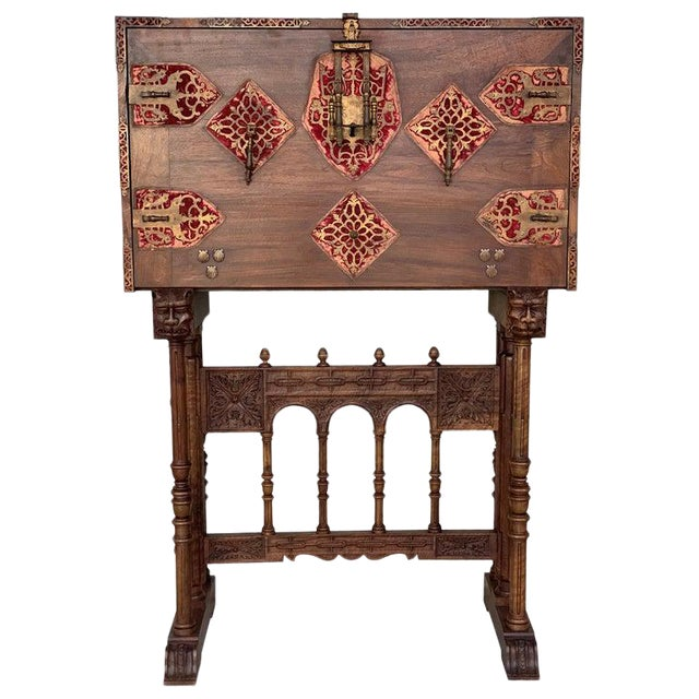 18th Spanish Bargueno of Columns With Foot Bridge, Cabinet on Stand For Sale