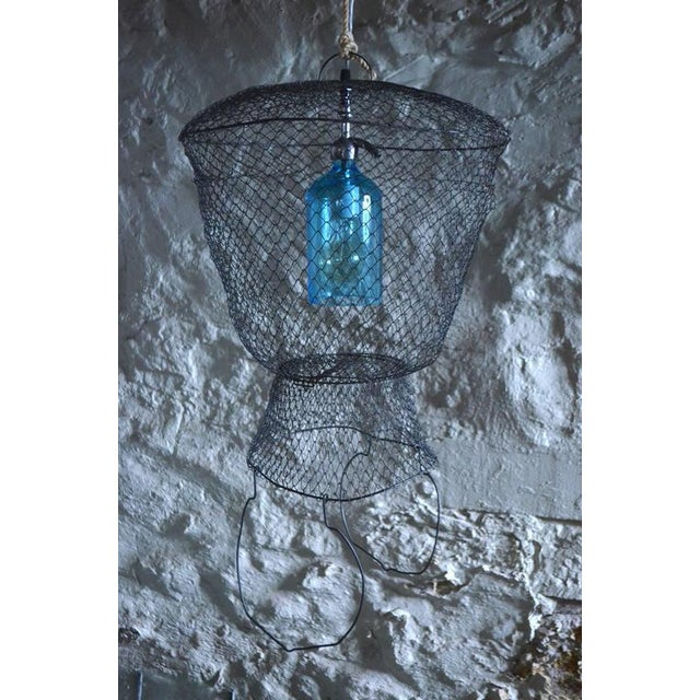Pendant Light from Seltzer Bottle Suspended in French, Steel Mesh Fish Basket - Image 9 of 11