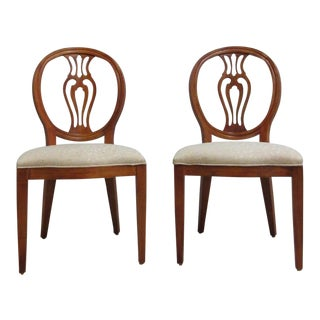 Henredon French Pierce Carved Balloon Back Dining Chairs - A Pair