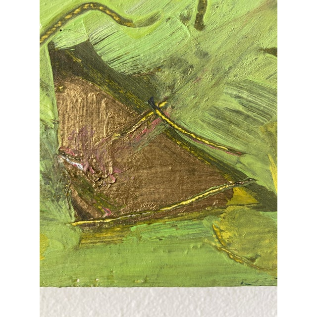 Black Vintage Postmodern Abstract Sgraffito Oil Painting For Sale - Image 8 of 13