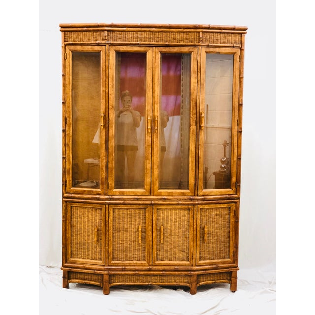 Vtg Faux Bamboo & Wicker Hutch For Sale - Image 13 of 13