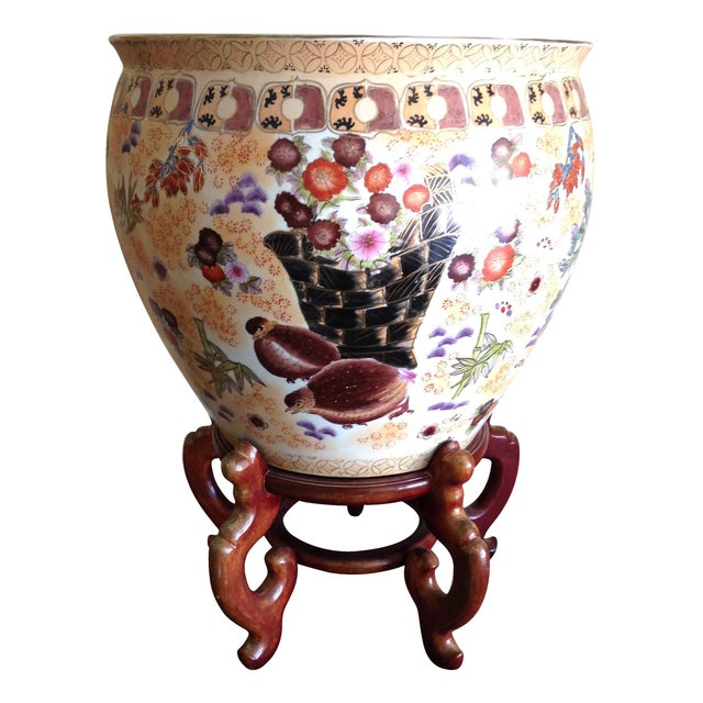 Large Antique Chinese Famille Fish Bowl & Stand - Image 1 of 6