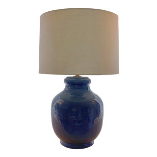 Mid-Century Ceramic Gourd Lamp and Linen Lamp Shade For Sale