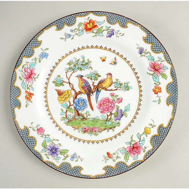 Spode China Brompton-Blue Luncheon Plate S/8 features a blue fish scale border design with exotic colorful birds,...