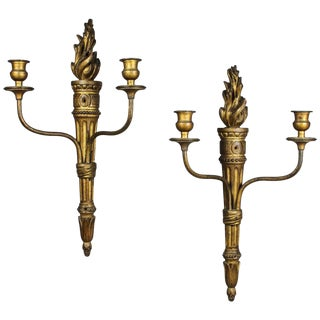 Pair of Carved Giltwood Wall Lights For Sale