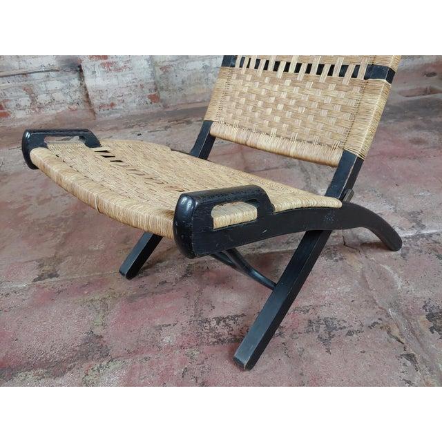 Vintage Hans Wegner Woven Rope Folding Chair For Sale - Image 9 of 10
