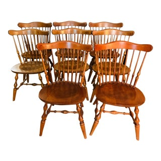 1970s Vintage Ethan Allen Winged Back Windsor Chairs-Set of 8 For Sale