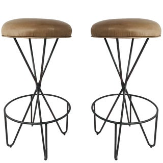 Pair of Wrought Iron Weinberg Barstools For Sale