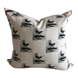 Fornasetti Mouths Throw Pillow Cushion - Rare, Out of Production Print For Sale