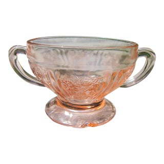 Pink Depression Glass Sugar Bowl- Federal Glass Sharon Cabbage Rose For Sale