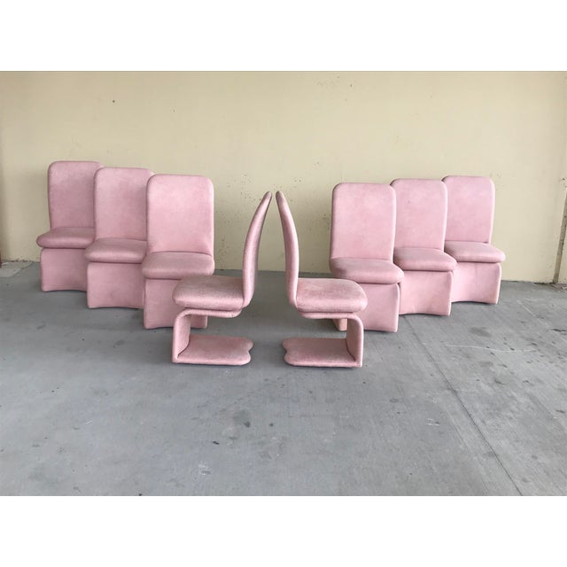 Milo Baughman 1990s Vintage Milo Baughman for Carsons Pink Upholstered Rolling Swivel Dining Chairs- Set of 8 For Sale - Image 4 of 10