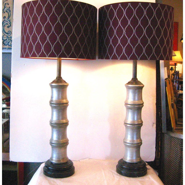 """Pair Hollywood Glam silvered ceramic faux bamboo lamps. Lamps are ca. 1940s/ 1950s. The base is about 6"""" diameter, the..."""