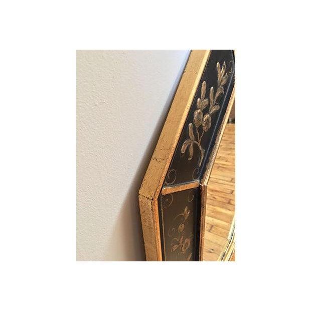La Barge Vintage Hand Painted Black Gilded Mirror - Image 4 of 8