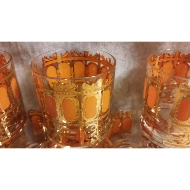 Mid-Century Modern Culver Gold & Orange Enamel Low Ball Glasses - Set of 8 - Image 4 of 7