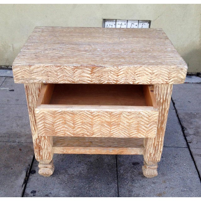 Wood Carved & Bleached Wood Side Tables - A Pair For Sale - Image 7 of 8