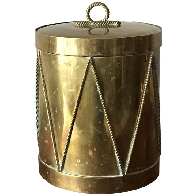 Brass Vintage Italian Brass Drum Ice Bucket For Sale - Image 7 of 7