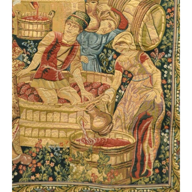 """Fabric 70""""x 62"""" French Wall Hanging Tapestry Jacquard Mille-Fleures Medieval Winemakers For Sale - Image 7 of 10"""