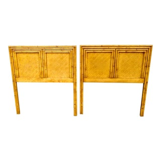A Pair Faux Bamboo Twin Size Palm Beach Regency Style Wood Headboards For Sale