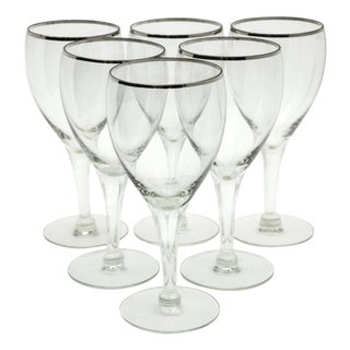 Sterling Silver Rim Wine Glasses - Set of 6 For Sale